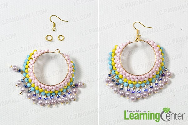 Finish the colorful beaded hoop earrings