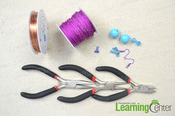 Materials needed in making needle tatting earrings