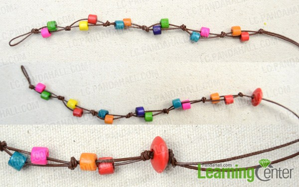 Instruction on making wooden beads bracelet