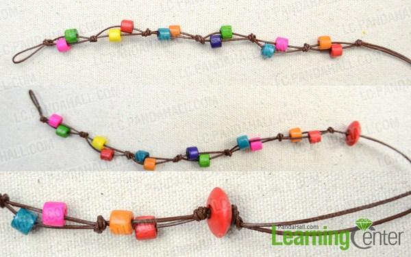 Instruction on making wooden beads bracelet