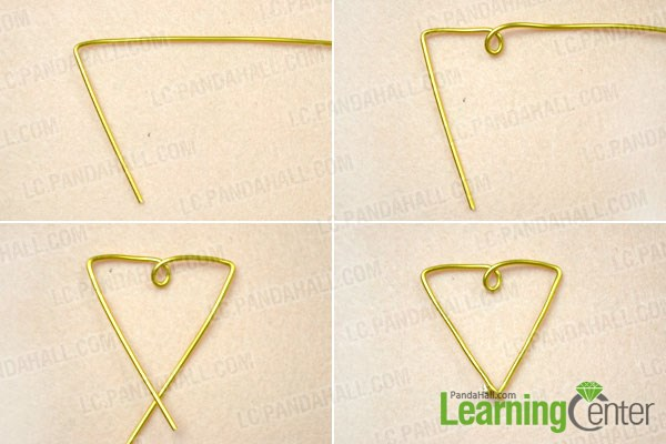 Make the big triangle for the gold and turquoise earrings