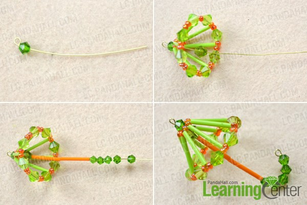 Make the handle for the DIY beaded umbrella ornaments