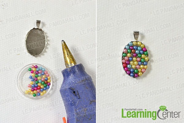 How to make a colorful pearl pendant necklace with silver chain at make the pearl pendant mozeypictures Images