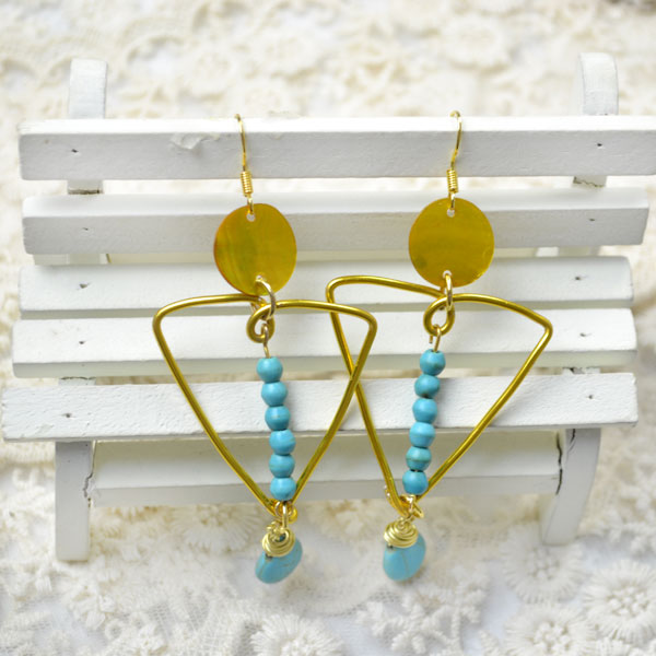 the final look of gold and turquoise earrings