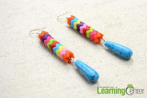 finished  Long Dangle Earrings with Rainbow Saw-toothed Beads