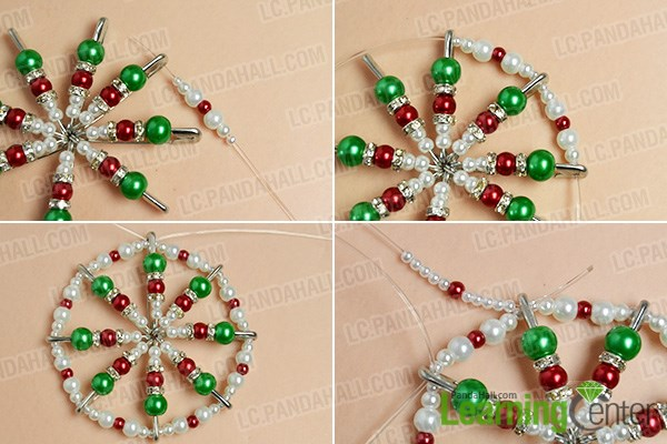 Make the second part of the pearl beads Christmas hanging ornament