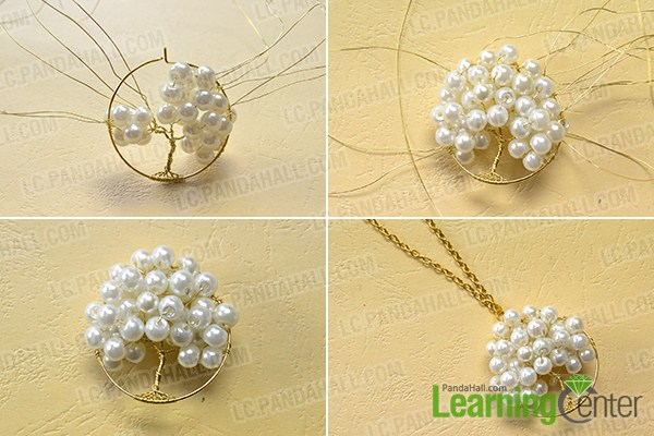 make the rest part of the homemade pearl tree pendant necklace