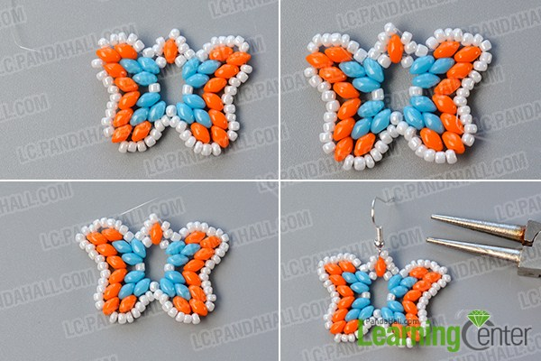 make the rest part of the 2-hole seed bead butterfly earrings