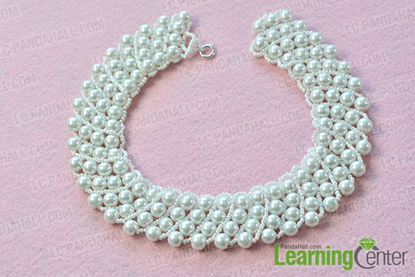 make the third part of the white pear bead statement necklace