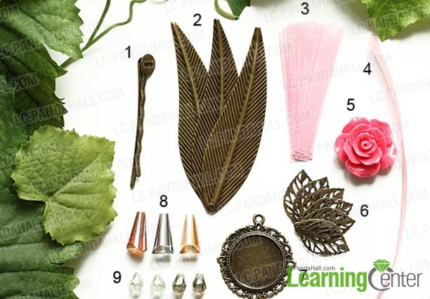 Materials for making Vintage Flower Hair Barrettes