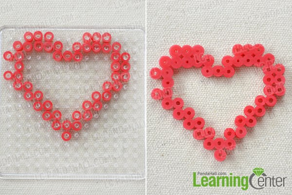 Make the heart frame front for the perler bead glasses