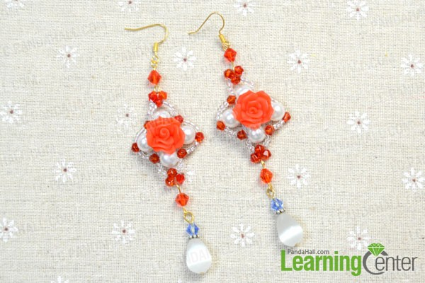 the well done beaded rose earrings
