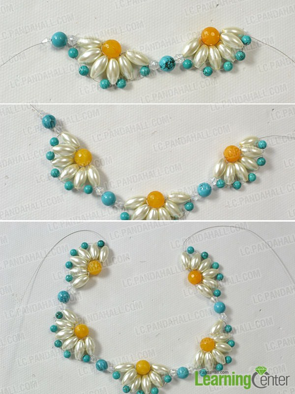 make 4 more bead flowers for the flower choker necklace
