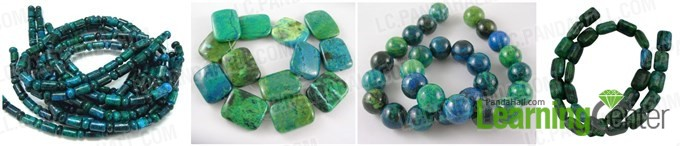 different shapes of chrysocolla gemstone beads