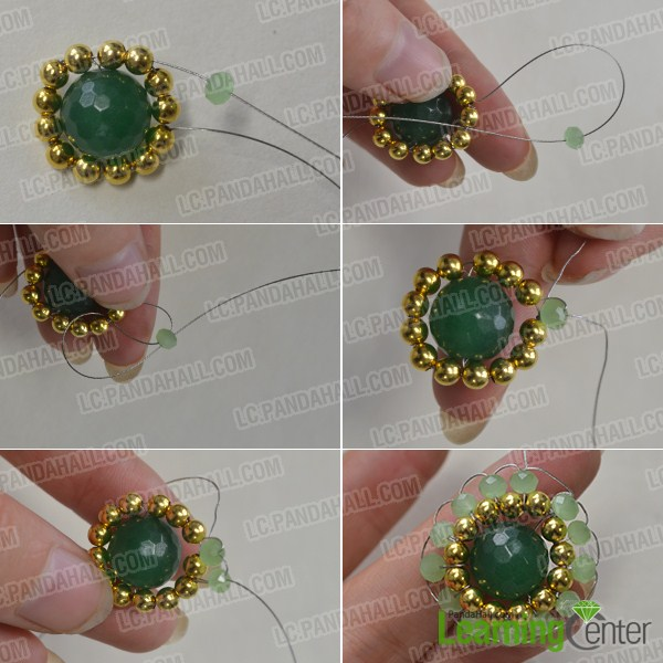 Add a circle of green glass bead to one beaded part