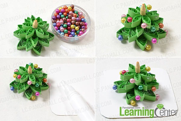 Add colorful acrylic beads to Christmas tree