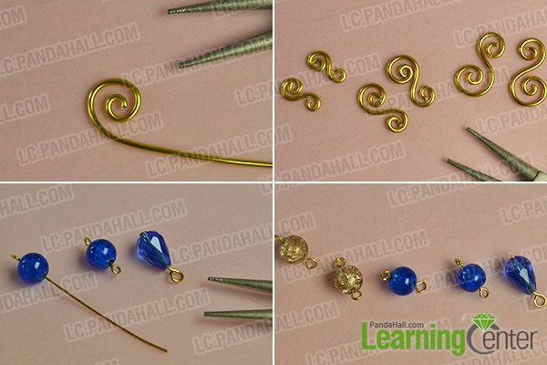 make the second part of the golden wire wrapped pendant necklace