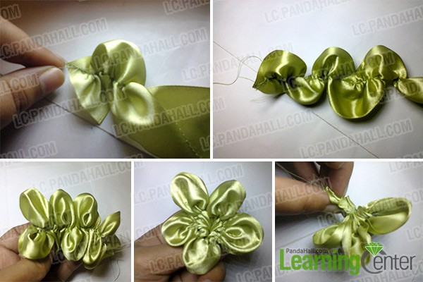 Easy tutorial on how to make a gorgeous green ribbon flower with make ribbon petals mightylinksfo