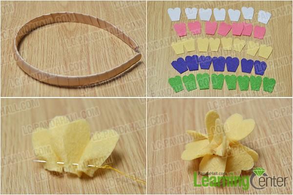 wrap headband and make a felt flower