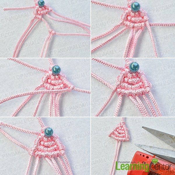 make the fourth part of the pink butterfly bow friendship bracelet