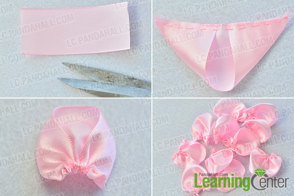 make the first part of the flower ribbon brooch