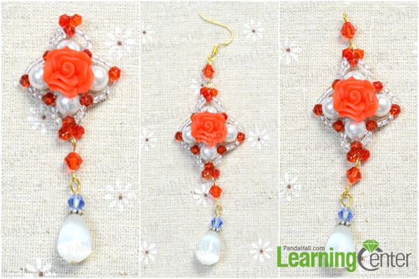 Illustrated Instructions On Making Charm Rose Earrings