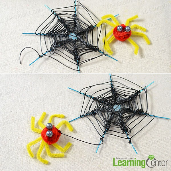 combine the spider and spider web together