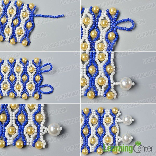 make the ninth part of the blue seed bead stitch wide bracelet