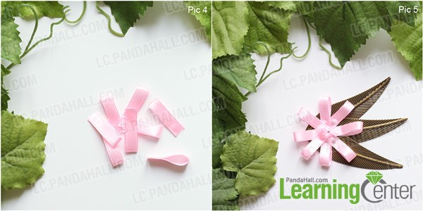 Fold ribbon pieces and stick onto leaves