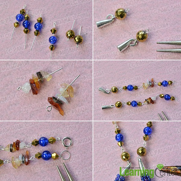 make the rest part of the blue seed bead stitch necklace