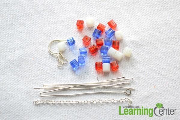 materials needed in beaded American flag earrings