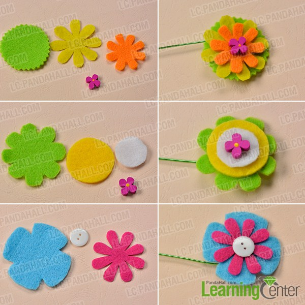 make another three felt flowers