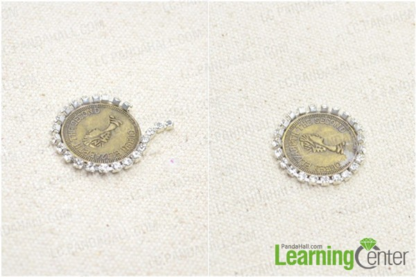 Use rhinestone chain to wrap the penny