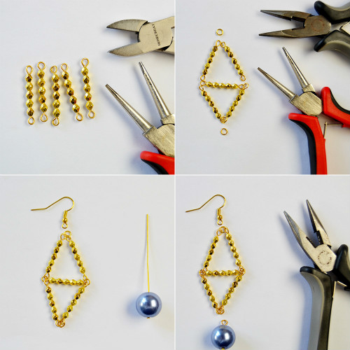 PandaHall Ideas on Making Rhombic Pearl Earrings