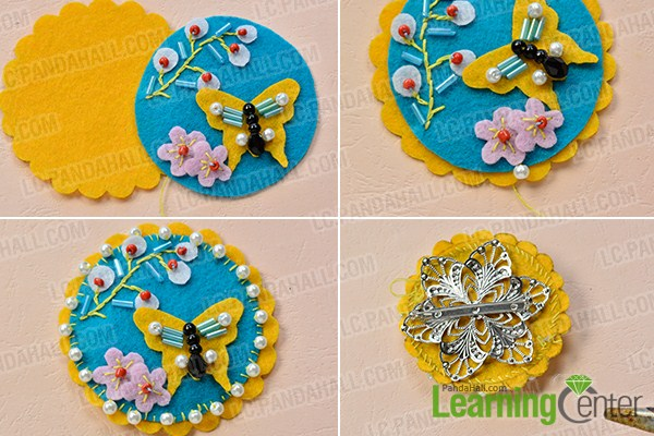 make the rest part of the blue felt butterfly and flower brooch