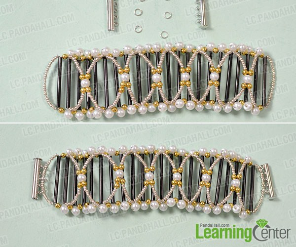 connect the two ends of the wide bead bangle bracelet