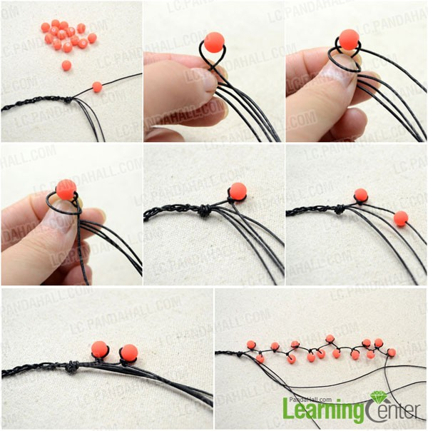 Decide the string bracelet pattern and make first bead strand