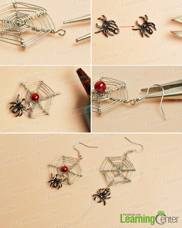 make the main part of the web and spider drop earrings