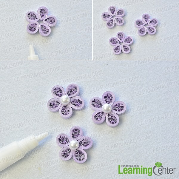 make the first part of the purple quilling paper flower necklace