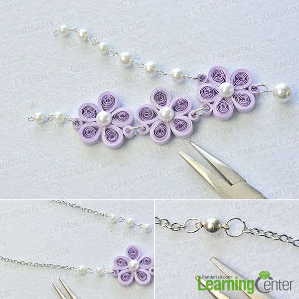 make the rest part of the purple quilling paper flower necklace