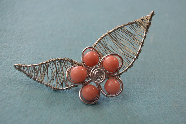 Wire Wrapped Flower Art Brooch Pin with Beads Tutorial 7