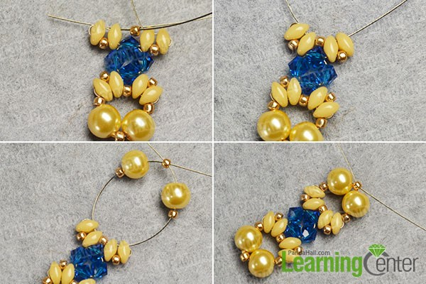 Complete the first yellow and blue bead pattern
