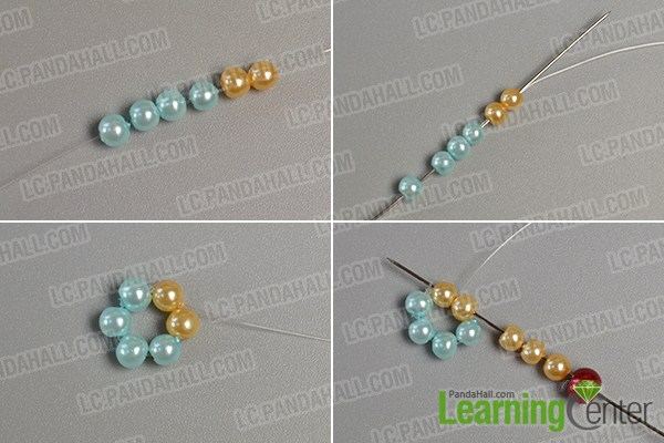 make the first part of the yellow pearl bead flower bracelet
