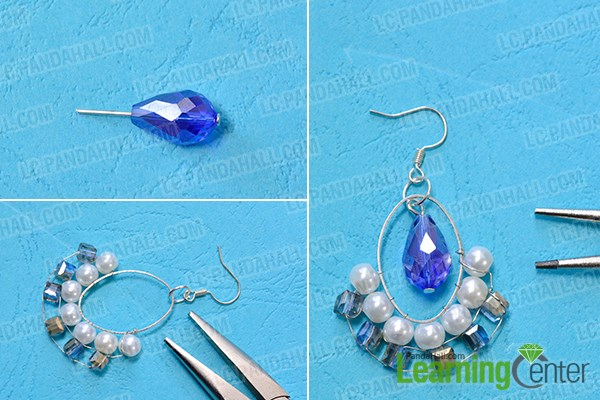 Finish the crystal drop earrings