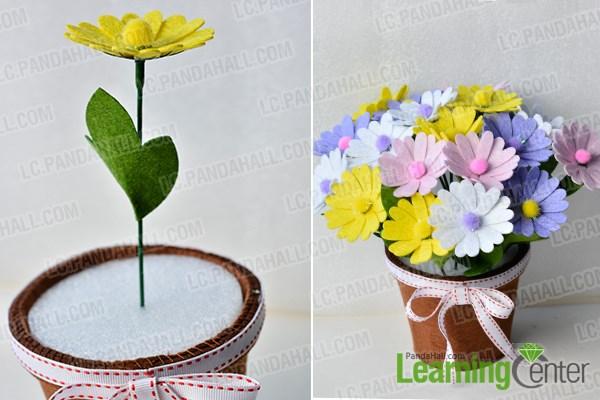 Finish the colorful felt flower pot