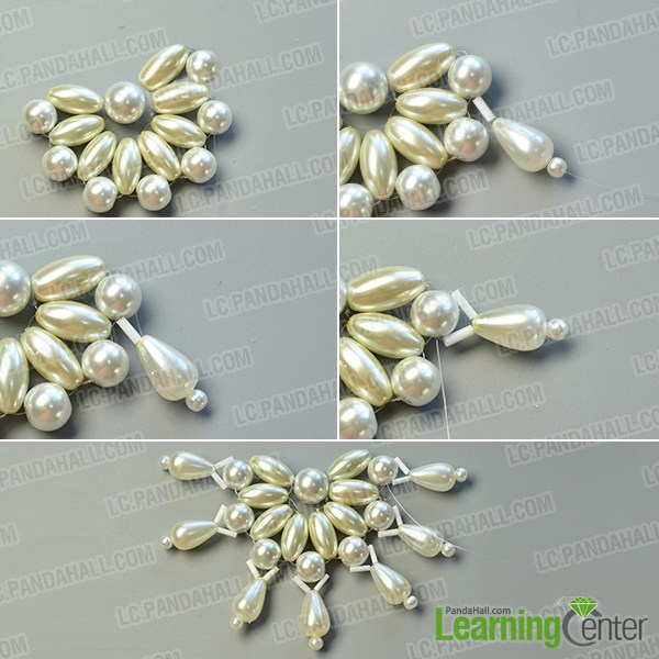 make the second part of the white pearl bead flower necklace