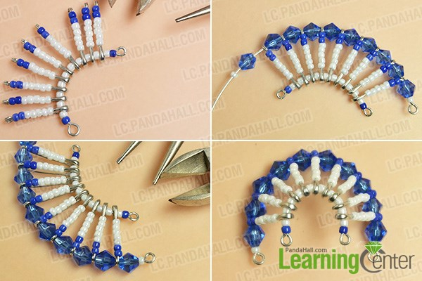 Complete the beaded safety pin pattern