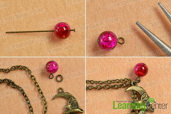 Make a chain pattern with beads and Tibetan style pendants