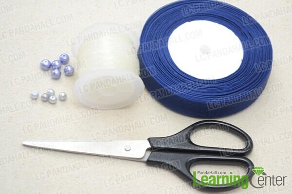 materials in DIY pearl ribbon bracelet
