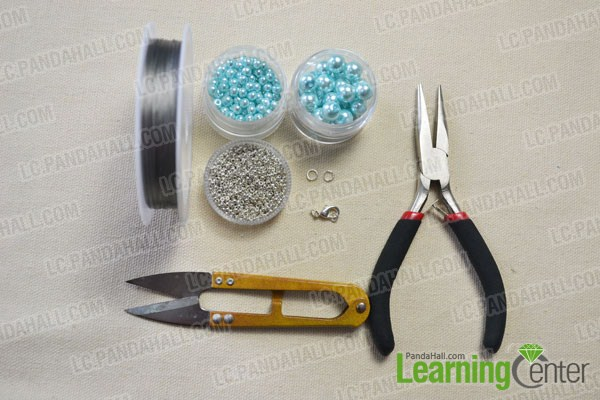 materials needed in DIY the woven pearl bead bracelet